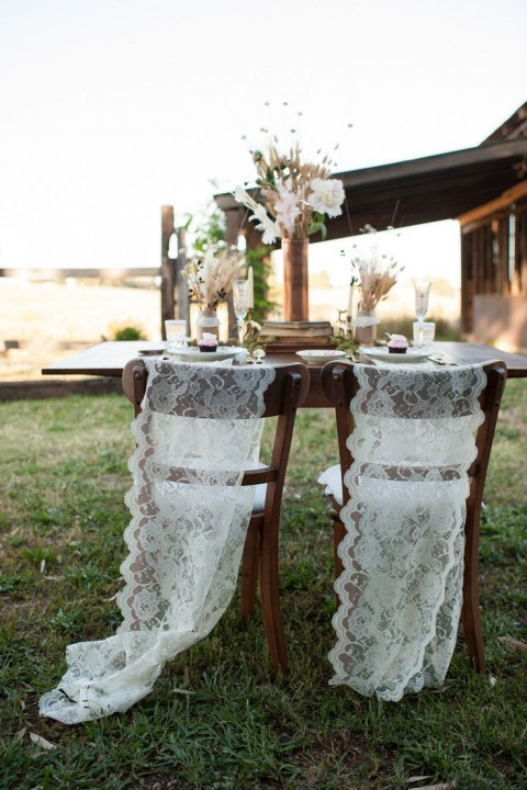 Adorable chair decoration ideas! - weddingfor1000.com simple lace