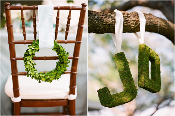 Adorable chair decoration ideas! - weddingfor1000.com wreath and greenery letters