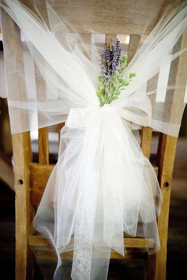 Adorable chair decoration ideas! - weddingfor1000.com netting and lavender