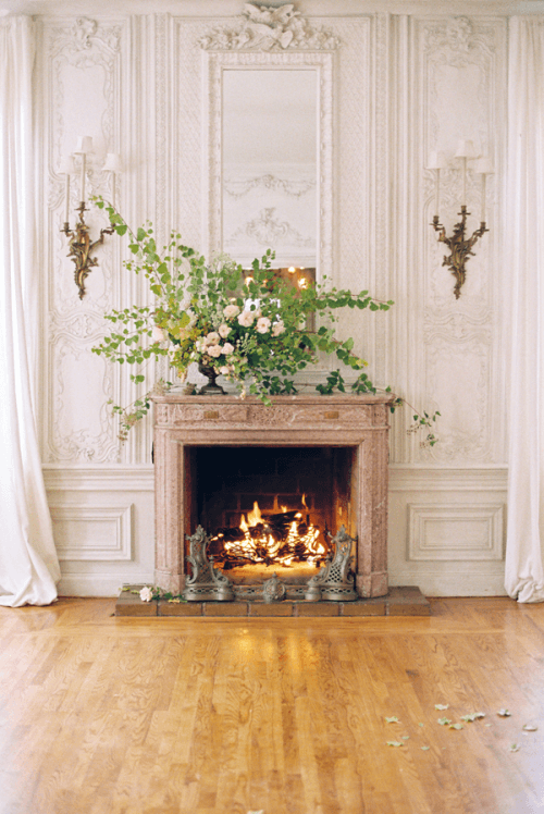 fireplace mantel ceremony backdrop ideas weddingfor1000.com