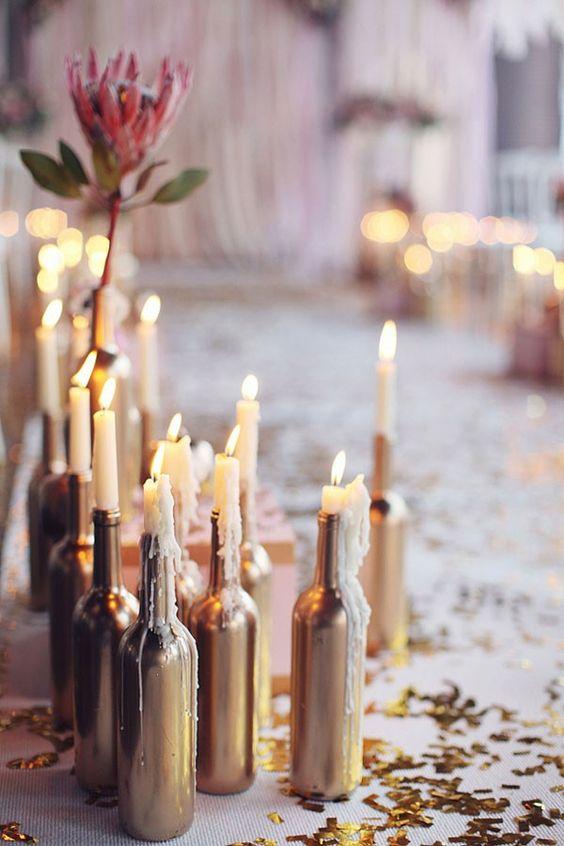 candles and wine centerpieces weddingfor1000.com