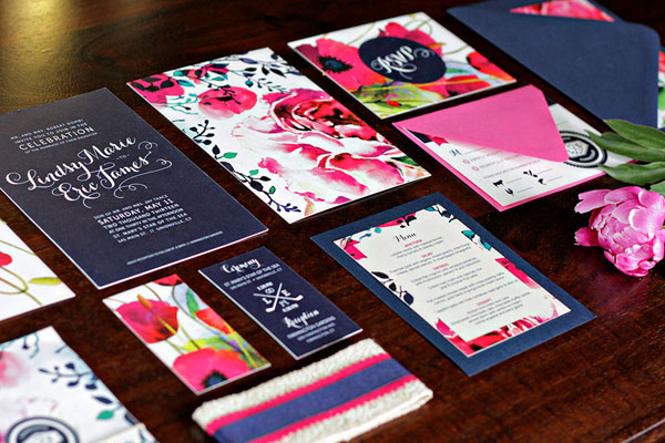 navy and hot pink - unforgettable wedding invitations
