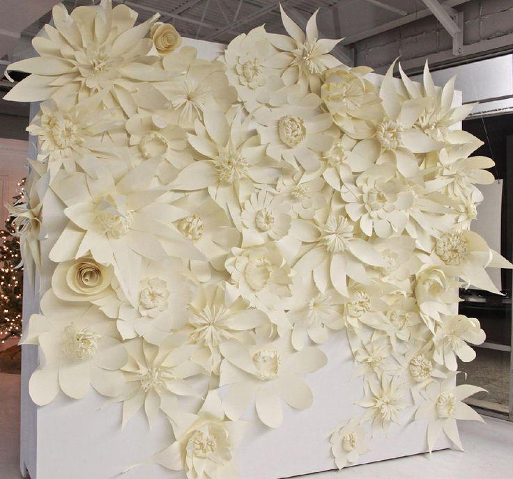paper flowers ceremony backdrop ideas weddingfor1000.com