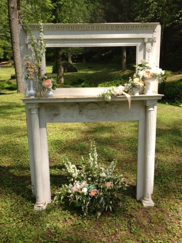 repurposed fireplace mantel ceremony backdrop weddingfor1000.com