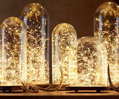 twinkle lights in jars