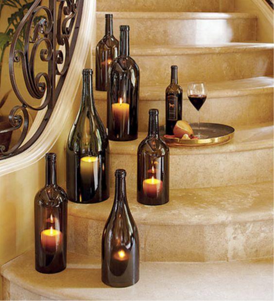 wine bottle lanterns bestdestinationweddings