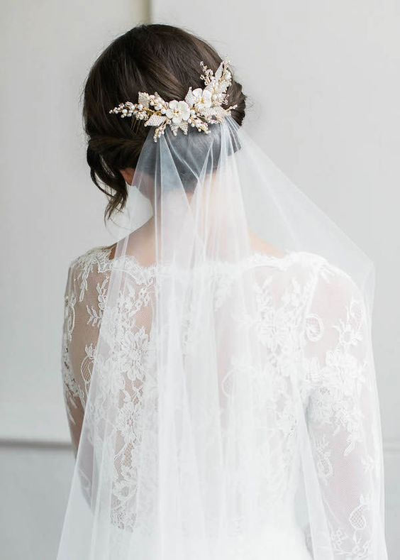 your wedding day look - veil in back