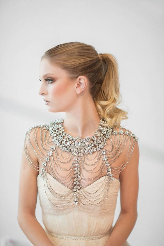 Elegant Wedding Day Look - beaded cape