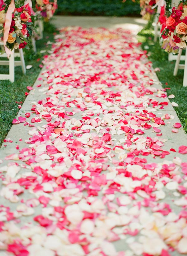 DIY flower petal aisle runner - weddingfor1000.com