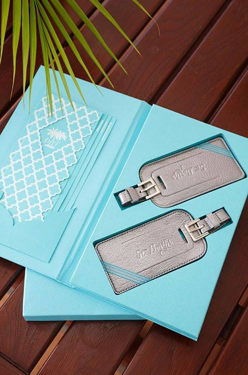 7 Awesome Destination Wedding Guest Favors Ideas: personalized luggage tags - weddingfor1000.com